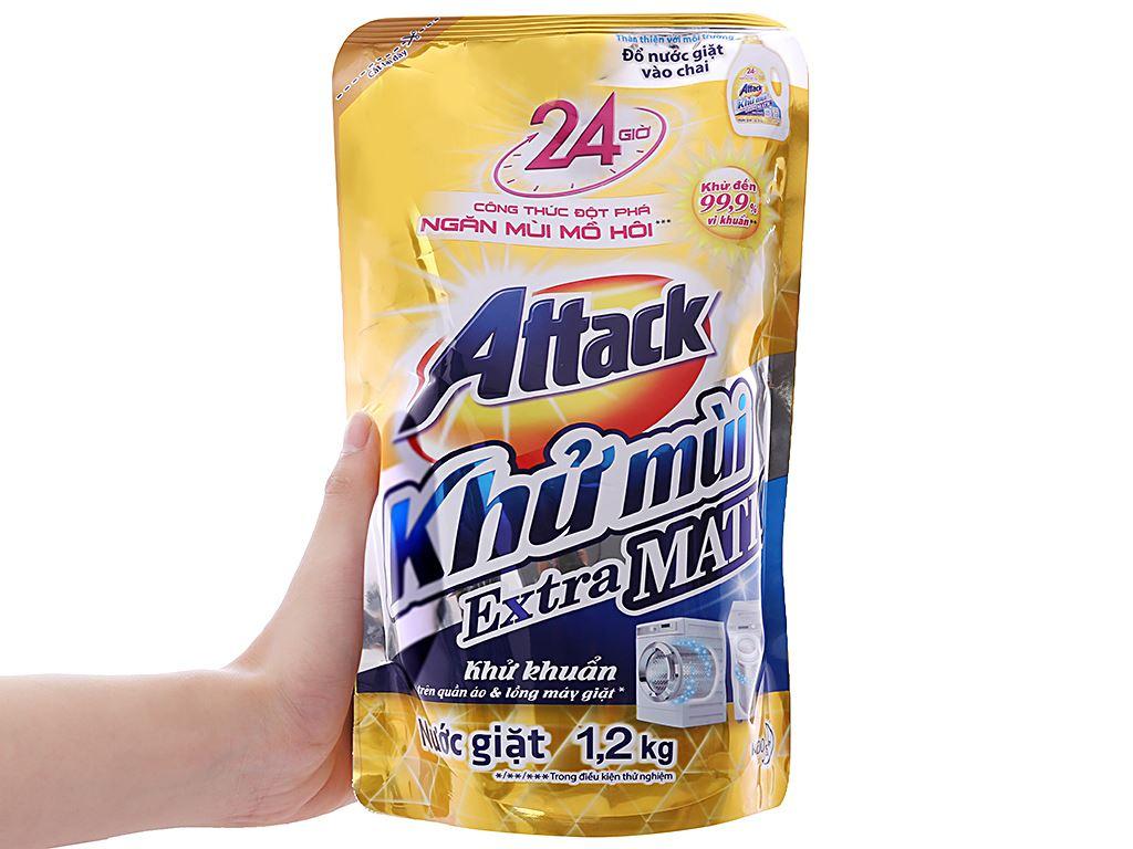 Nước giặt Attack Extra Matic ngăn mùi mồ hôi 1.2 lít 3