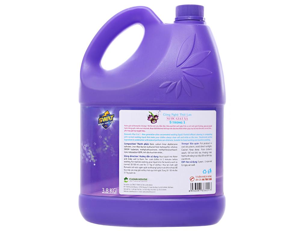 Nước giặt xả Swat Romantic hương hoa thiên nhiên can (bình) 3.8kg 2