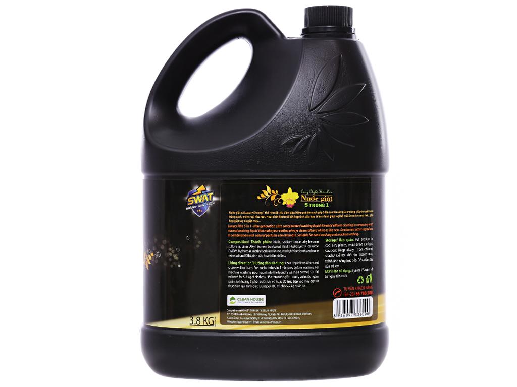 Nước giặt xả Swat Luxury hương hoa thiên nhiên can (bình) 3.8kg 2