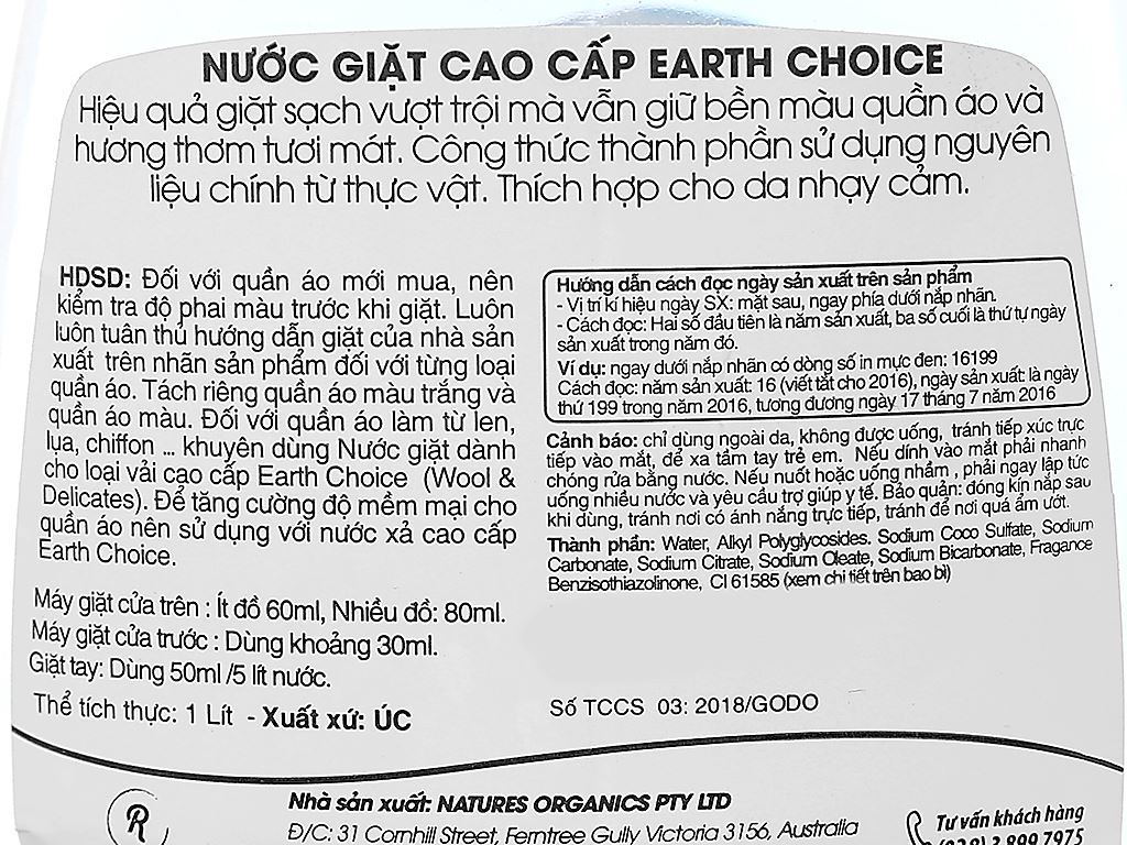 Nước giặt Earth Choice Pure Clean 1 lít 4