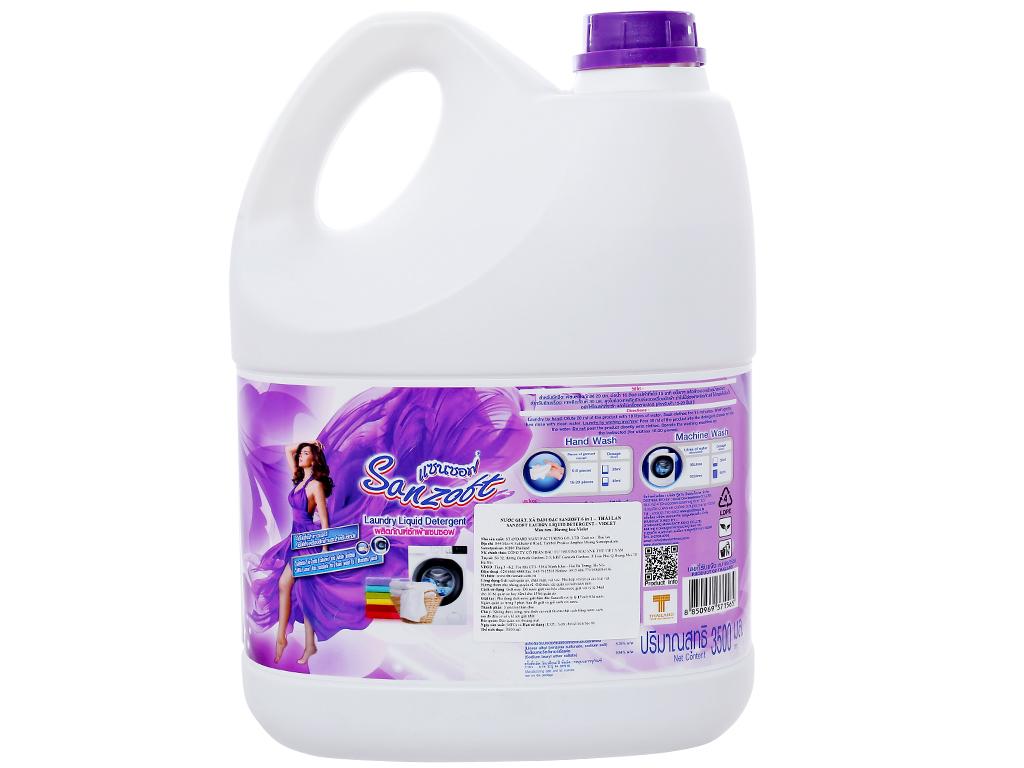 Nước giặt xả Sanzoft hương hoa violet can 3.5 lít 2