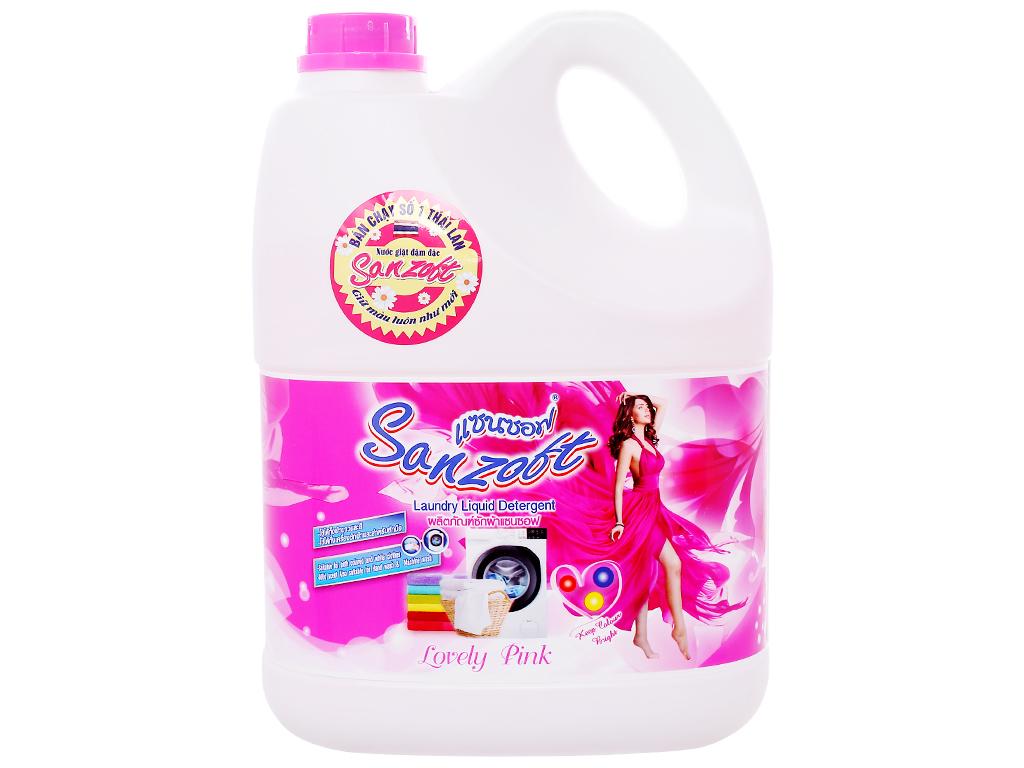Nước giặt xả Sanzoft hương hoa hồng can 3.5 lít 1