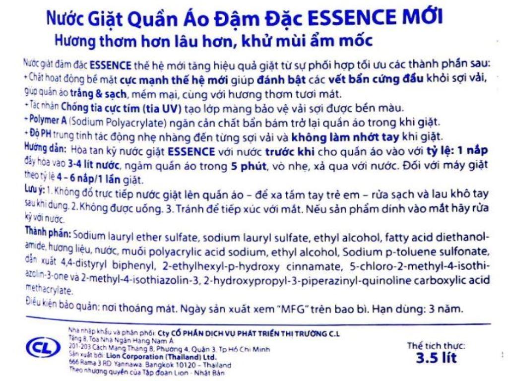 Nước giặt Essence hương floral 3.5 lít 3