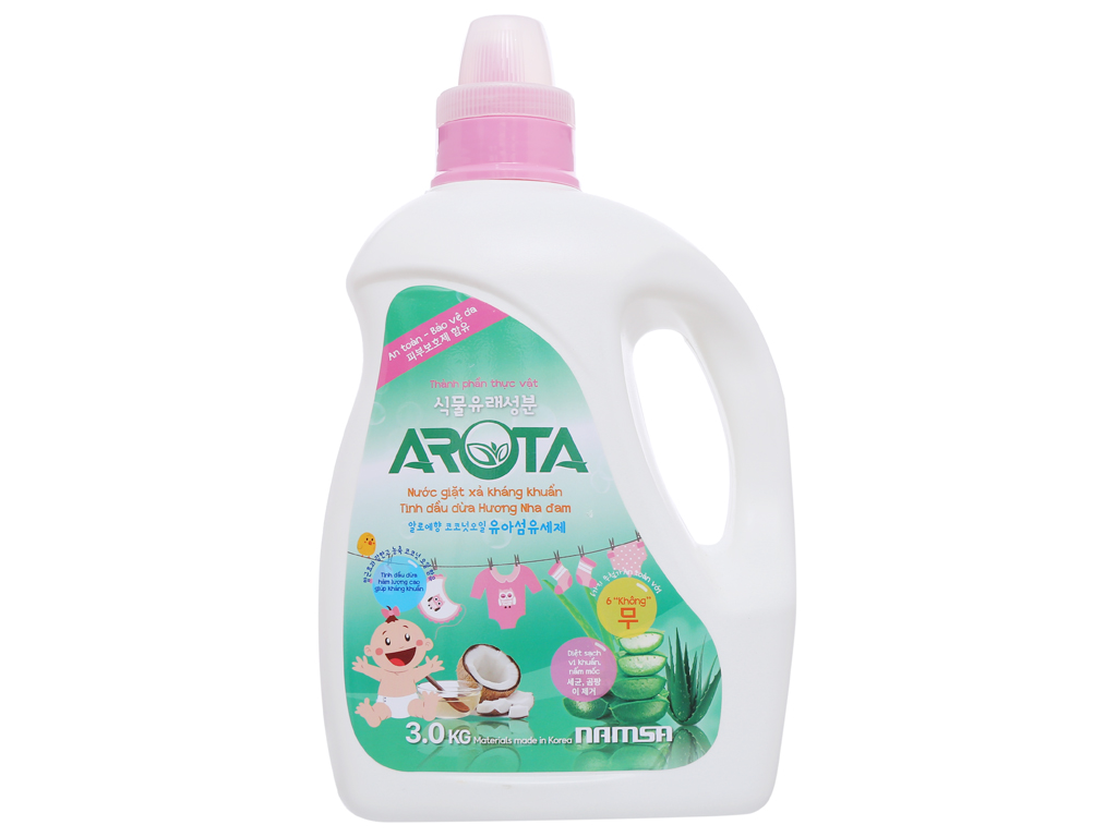 Nước giặt xả Arota kháng khuẩn tinh dầu dừa hương nha đam chai 3kg 2