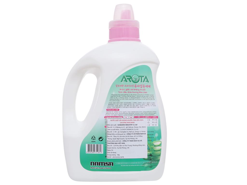 Nước giặt xả Arota kháng khuẩn tinh dầu dừa hương nha đam chai 3kg 3
