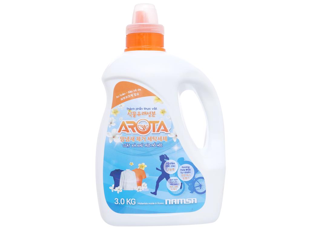 Nước giặt xả Arota đậm đặc khử mùi mồ hôi hương hoa nhài chai 3kg 2