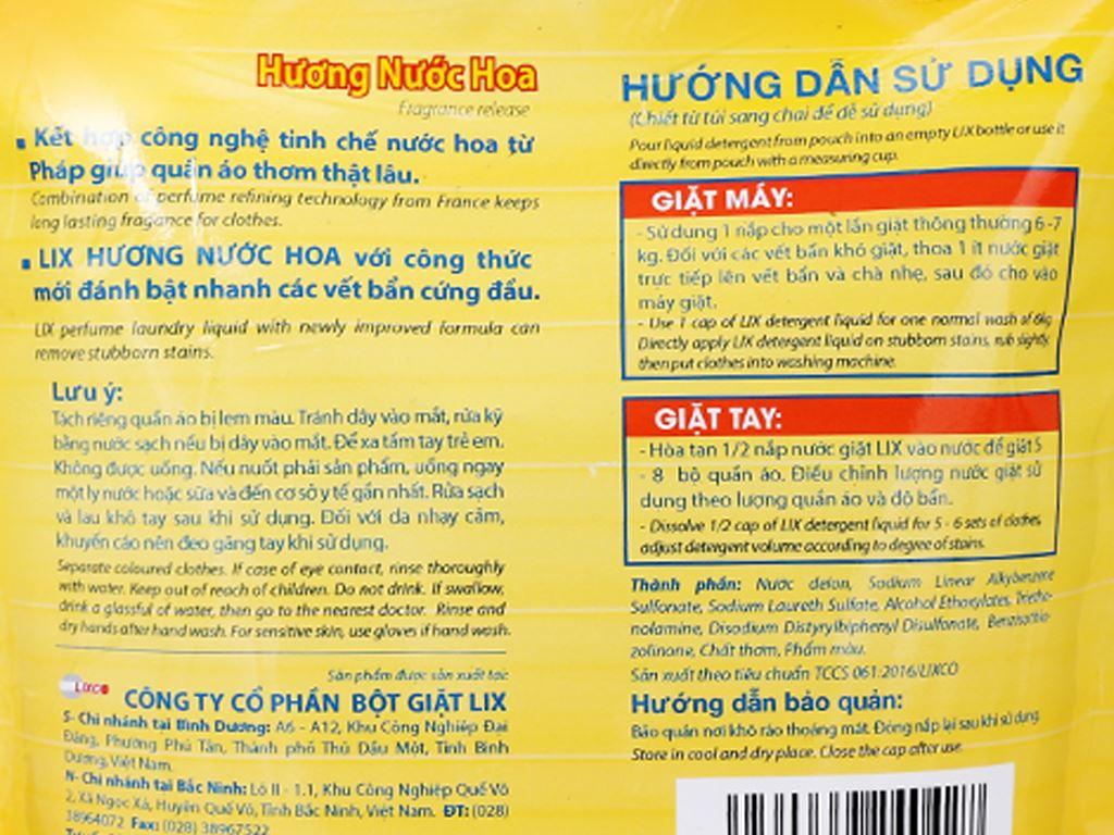 Nước giặt Lix Matic hương nước hoa túi 2.5 lít 4