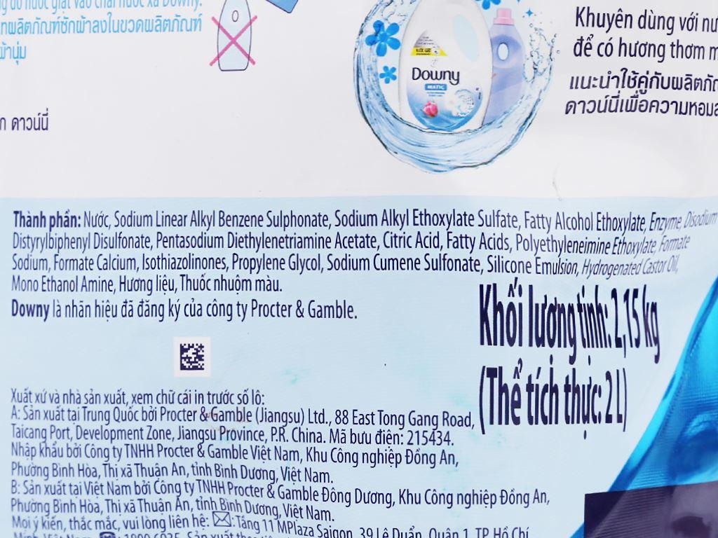 Nước giặt Downy Matic biển xanh tươi mát túi 2 lít 5