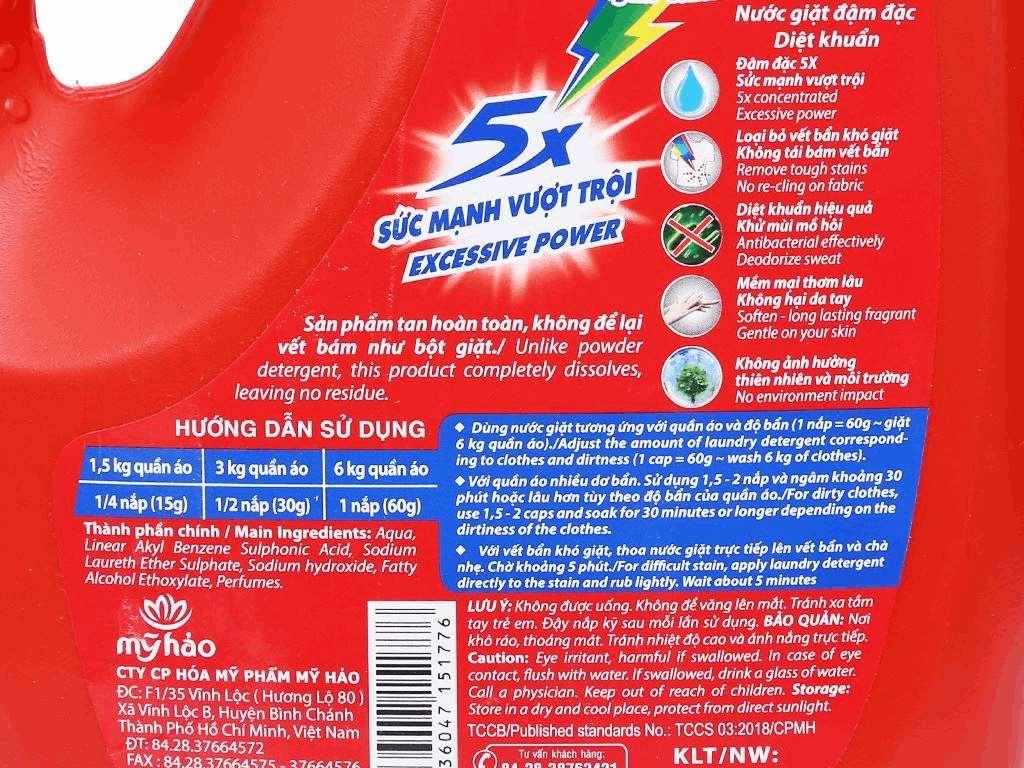 Nước giặt Mỹ Hảo diệt khuẩn chai 1.8kg 4