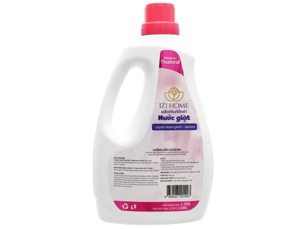 Nước giặt IZI HOME hương hoa dịu nhẹ chai 2.6 lít 2