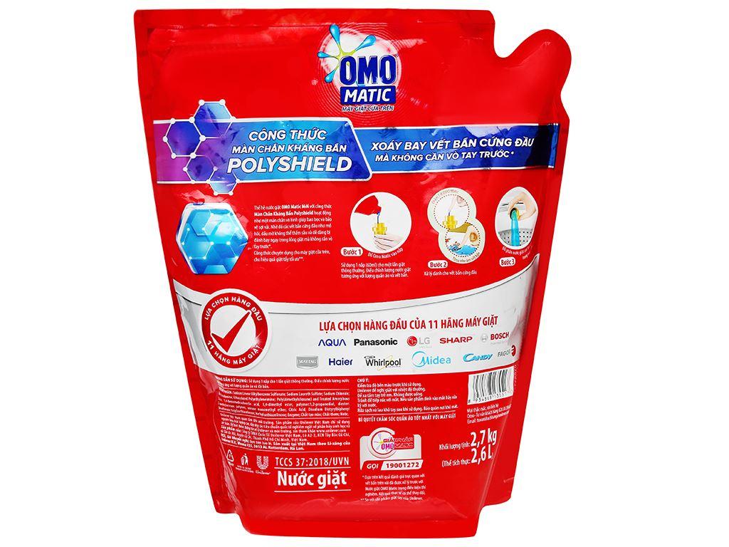 Nước giặt OMO Matic 3X xoáy bay vết bẩn túi 2.7kg 2