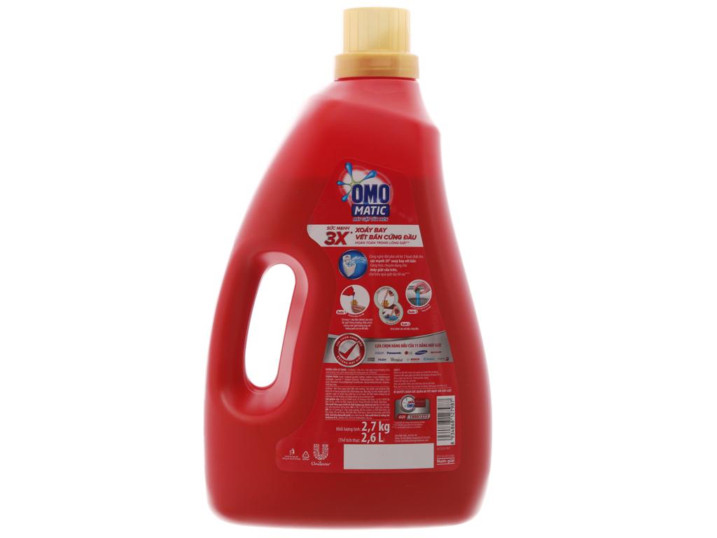 Nước giặt OMO Matic 3X xoáy bay vết bẩn chai 2.7kg 3