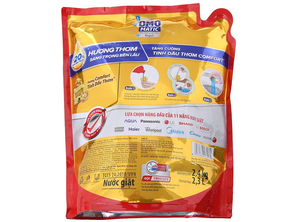 Nước giặt OMO Matic Comfort tinh dầu thơm túi 2.4kg 3