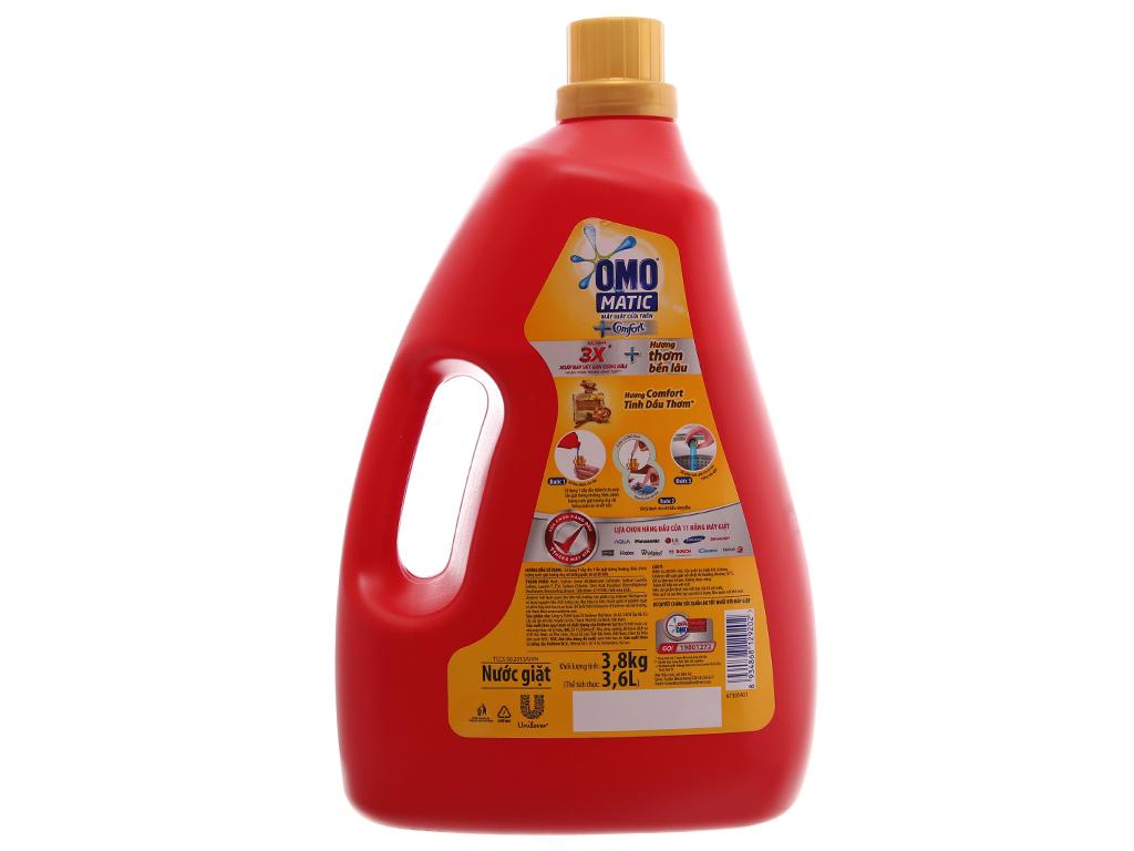 Nước giặt OMO Matic Comfort tinh dầu thơm chai 3.7kg 3