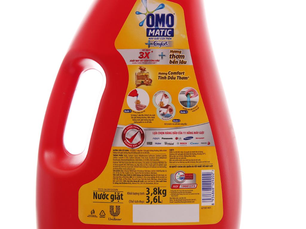 Nước giặt OMO Matic Comfort tinh dầu thơm chai 3.7kg 4