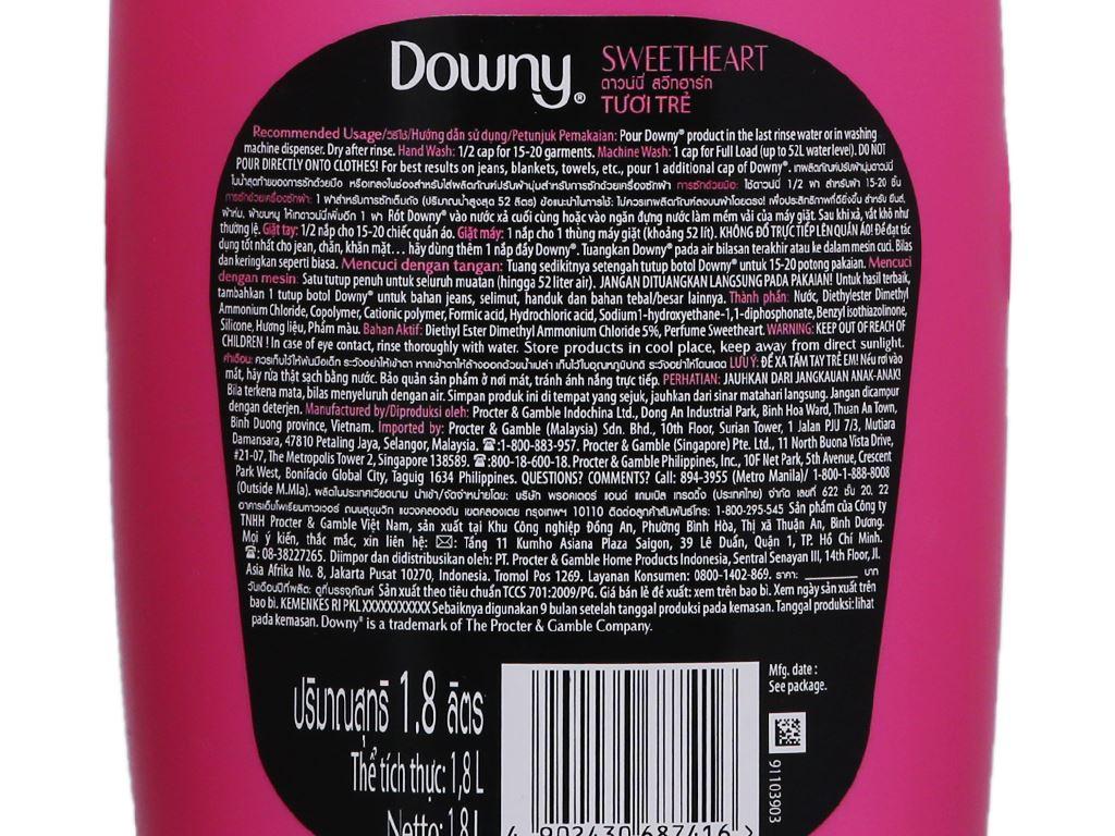 Nước xả vải Downy tươi trẻ chai 1.8L 4
