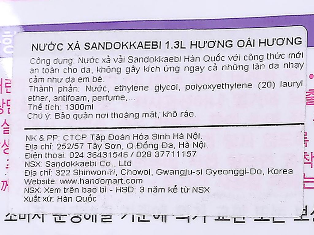 Nước xả vải Sandokkaebi hương hoa oải hương túi 1.3 lít 5