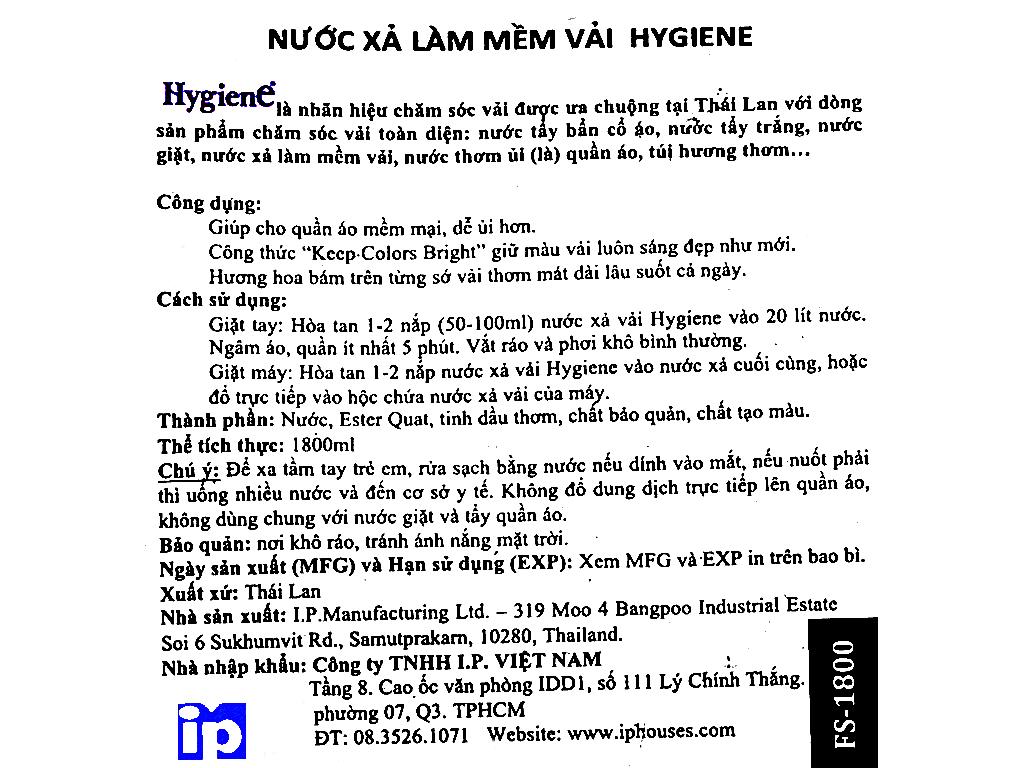 Nước xả vải cho bé Hygiene Violet Soft túi 1.8 lít 5