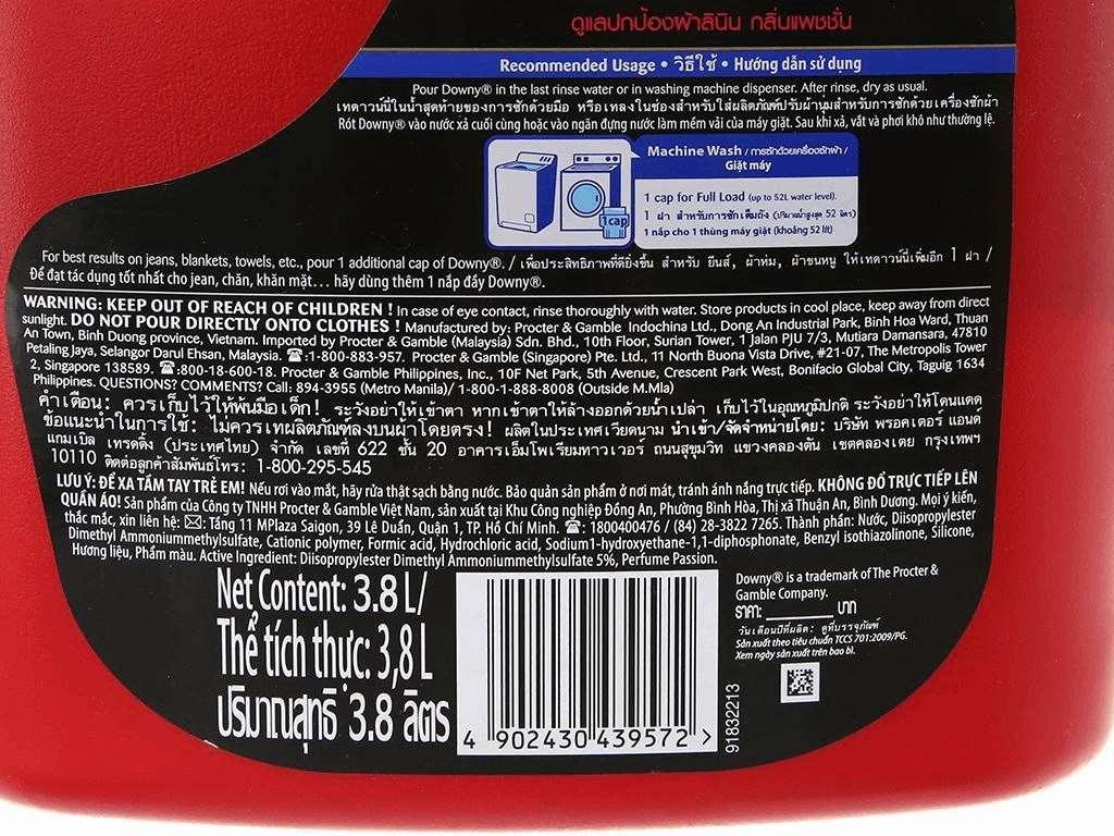 Nước xả vải Downy chăm sóc vải đam mê can 3.8 lít 5