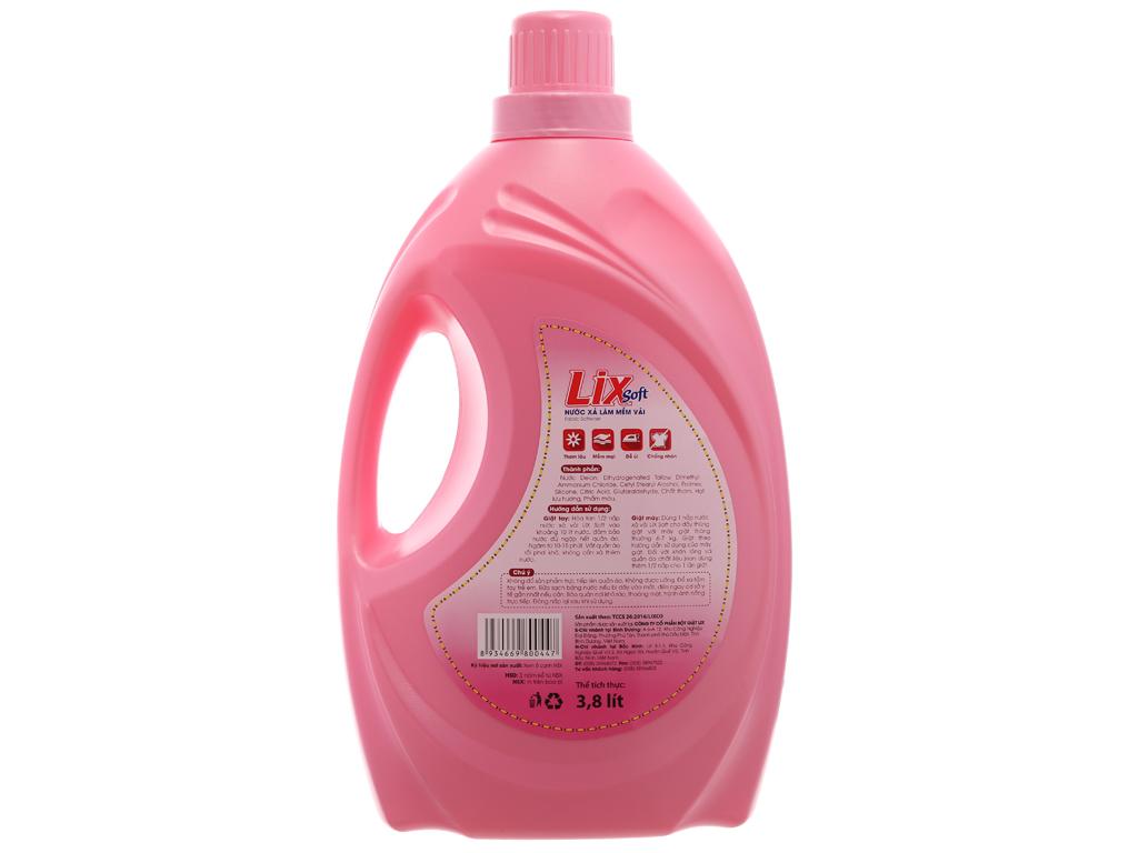 Nước xả vải Lix Soft hương hoa hồng can 3.8 lít 3