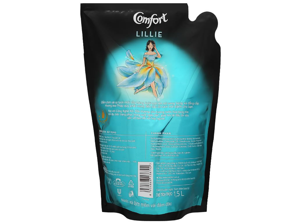 Nước xả vải Comfort hương nước hoa thiên nhiên lillie túi 1.5 lít 2