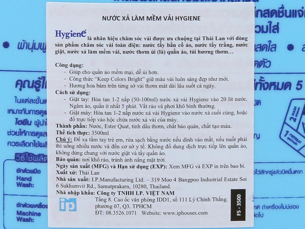 Nước xả vải cho bé Hygiene Ocean Blue can 3.5 lít 4