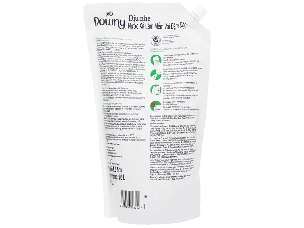 Nước xả vải Downy dịu nhẹ hương sả túi 1.6 lít 3