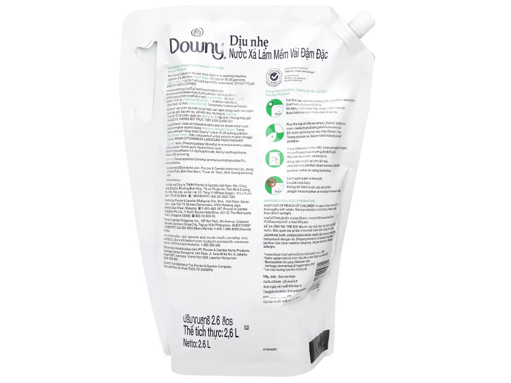 Nước xả vải cho bé Downy dịu nhẹ hương sả túi 2.6 lít 2