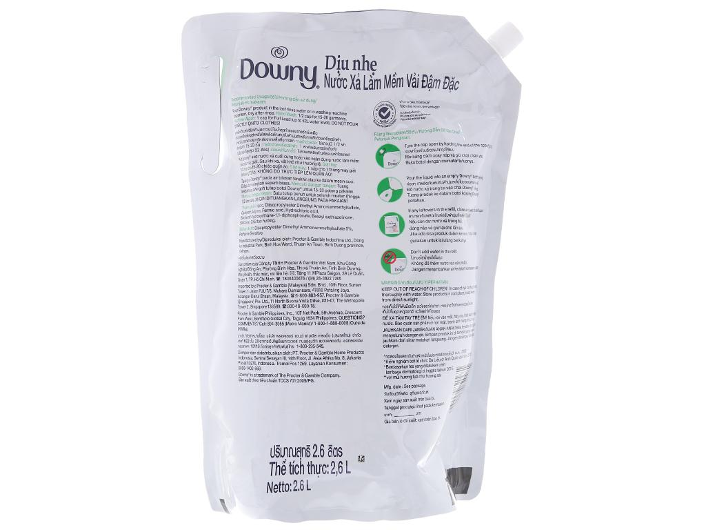 Nước xả vải cho bé Downy dịu nhẹ hương sả túi 2.6 lít 3