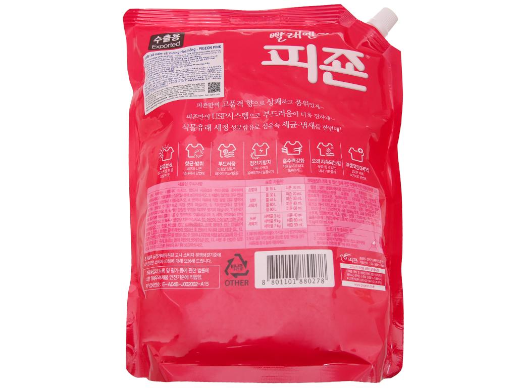 Nước xả vải Pigeon Hàn Quốc hương hoa Hồng túi 2.1L 2