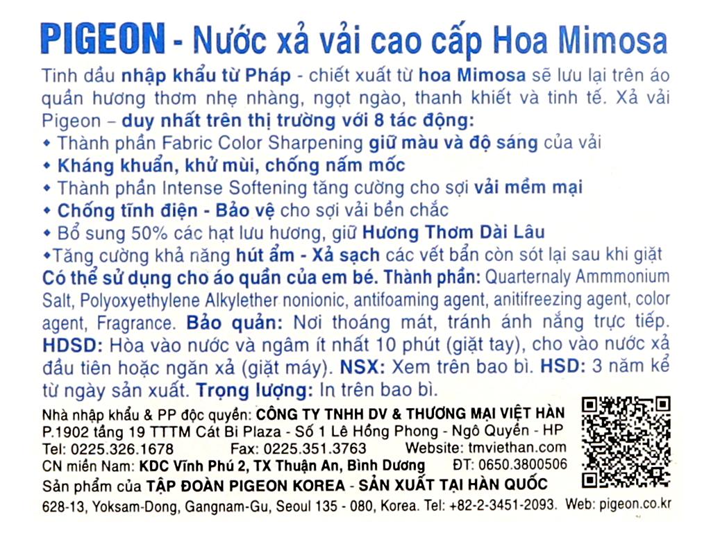 Nước xả vải Pigeon Hàn Quốc hương mimosa chai 2.5 lít 3