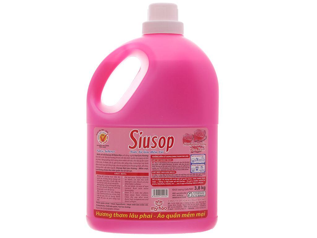 Nước xả vải Siusop 3X đậm đặc hương hoa Hồng can 3.8L 3