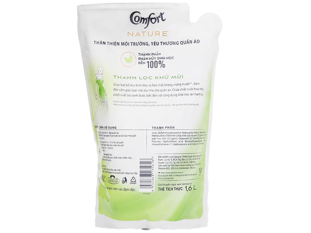 Nước xả vải Comfort Nature chiết xuất trà xanh và hoa nhài túi 1.6 lít 3