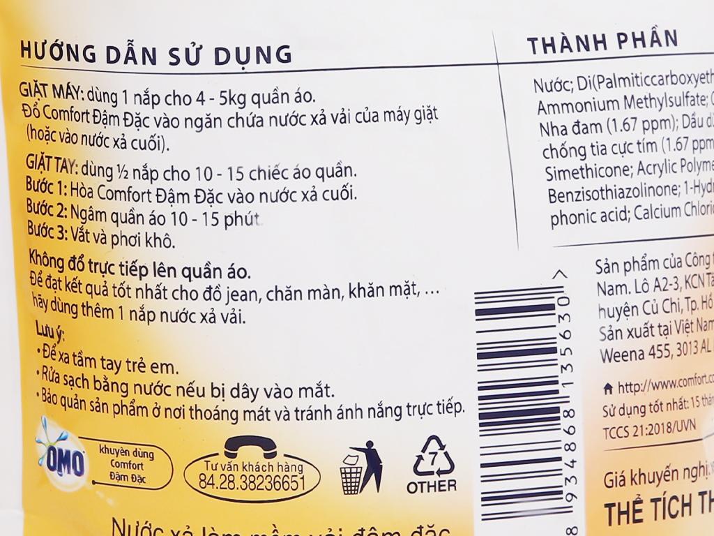 Nước xả vải Comfort Nature chiết xuất dầu dừa và nha đam túi 1.6 lít 4