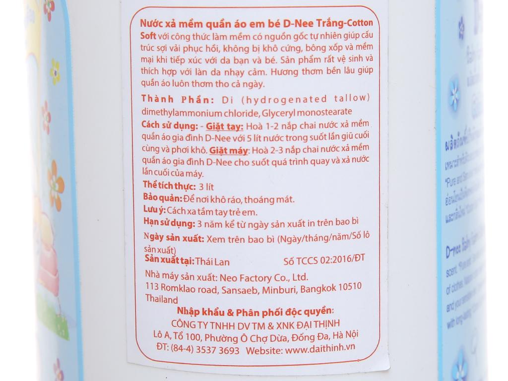 Nước xả vải cho bé D-nee Cotton Soft can 3L 5