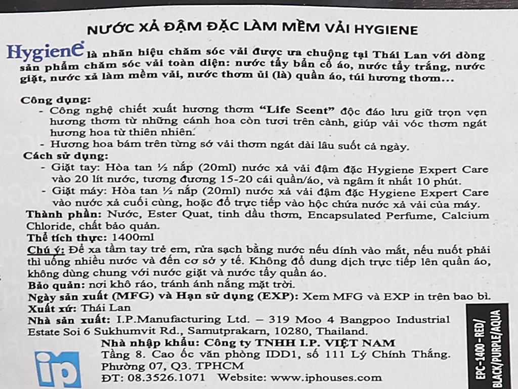 Nước xả vải Hygiene Expert Care đen túi 1.4 lít 5