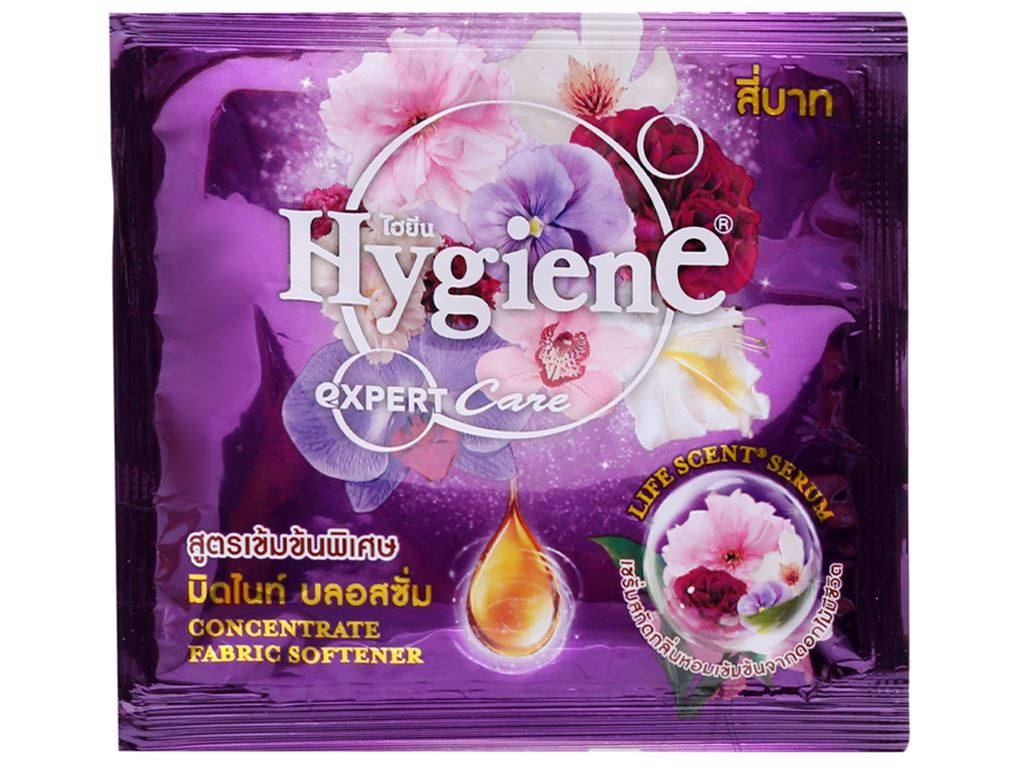 12 gói Nước xả vải Hygiene Expert Care tím 20ml 2