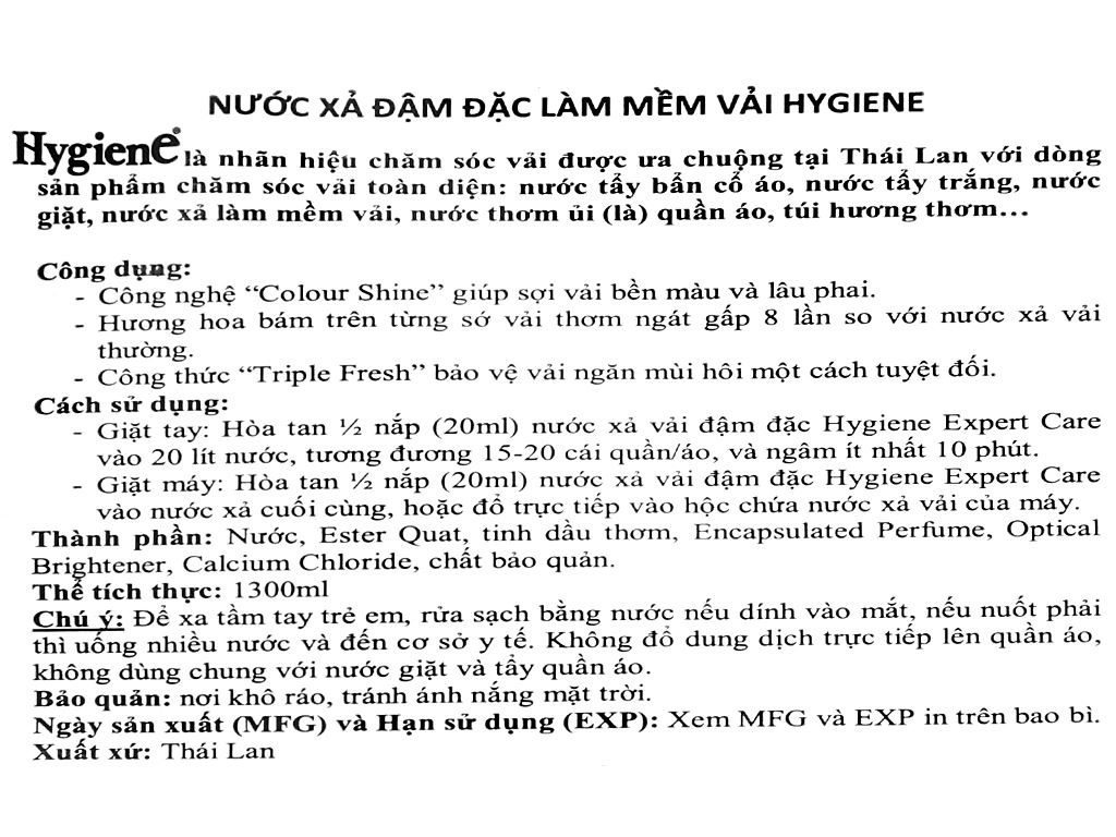 Nước xả vải Hygiene Expert Care cam túi 1.3 lít 3