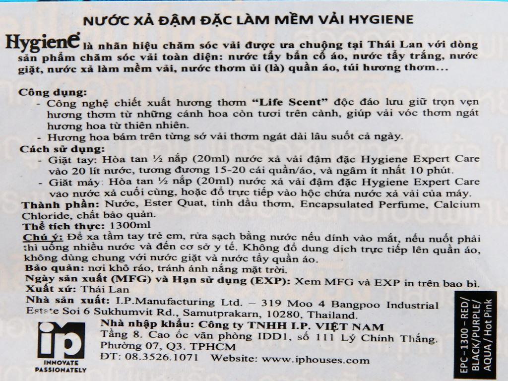 Nước xả vải Hygiene Expert Care xanh túi 1.3 lít 3
