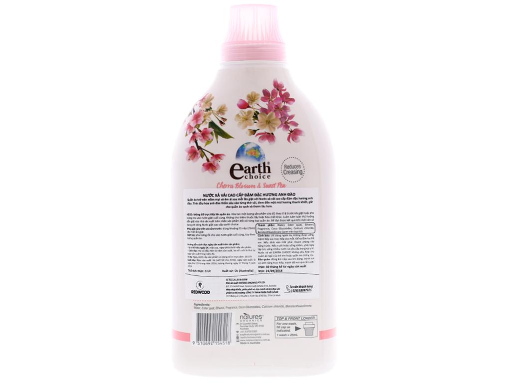 Nước xả vải Earth Choice đậm đặc hương hoa anh đào chai 1 lít 2