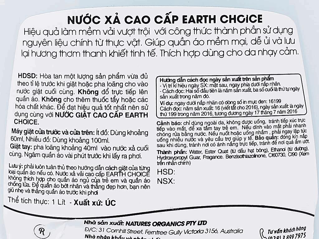 Nước xả vải Earth Choice cao cấp chai 1 lít 4