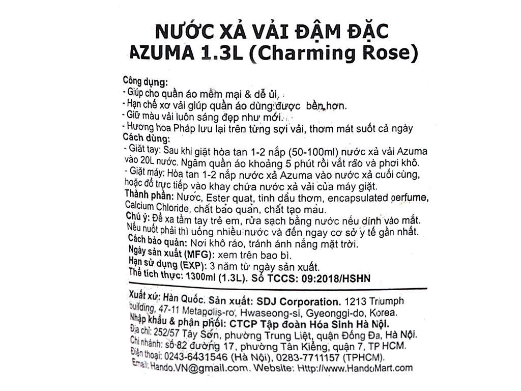 Nước xả vải Azuma Charming Rose túi 1.3 lít 3