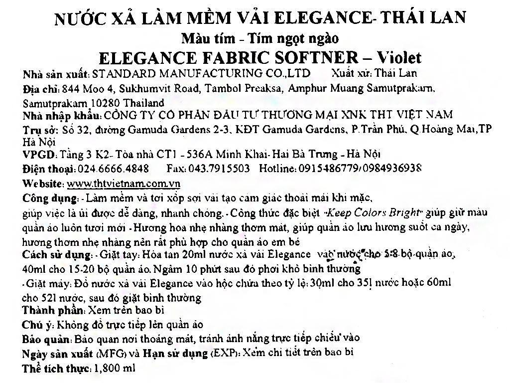 Nước xả vải Elegance tím ngọt ngào túi 1.8 lít 4