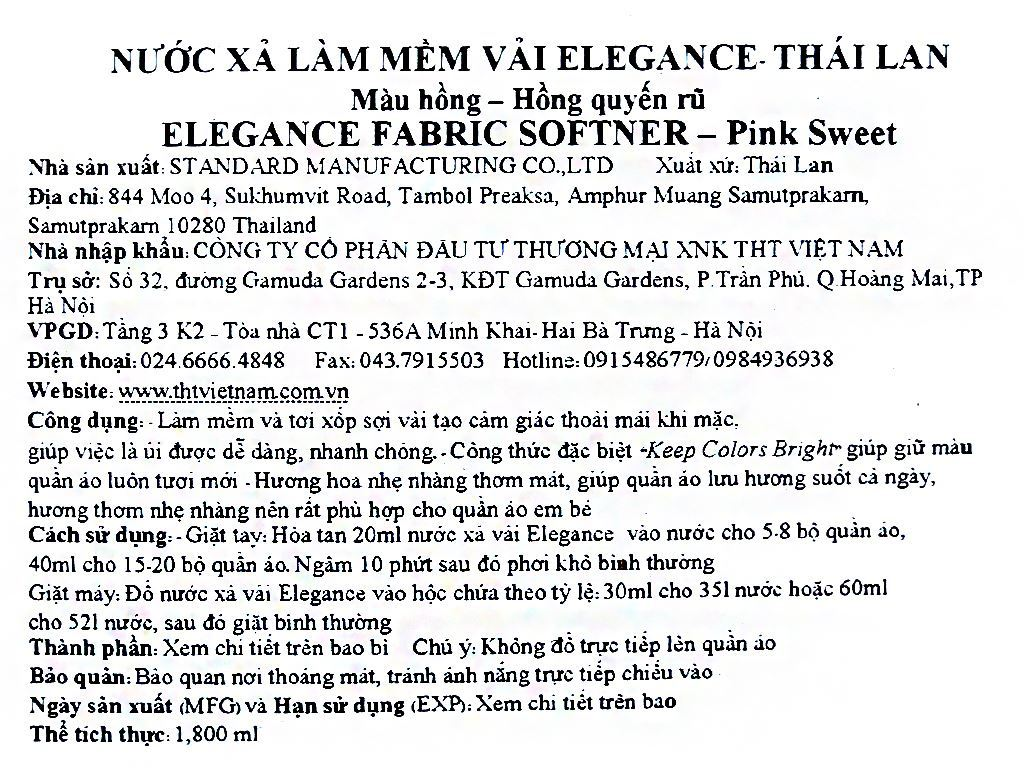 Nước xả vải Elegance hồng quyến rũ túi 1.8 lít 4