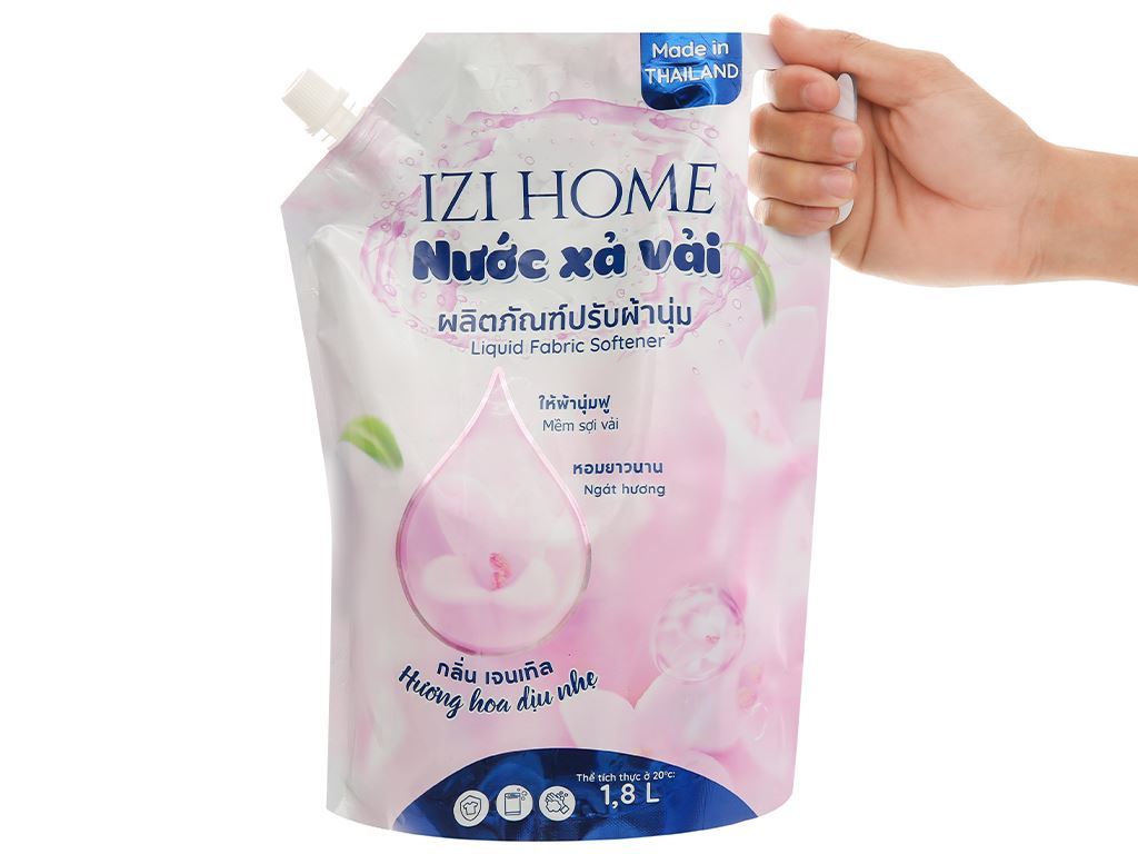 Nước xả vải IZI HOME hương hoa dịu nhẹ túi 1.8 lít 5