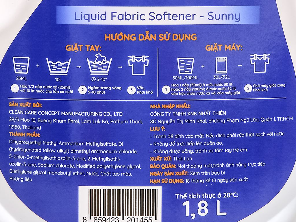 Nước xả vải IZI HOME hương sớm mai chai 1.8 lít 3