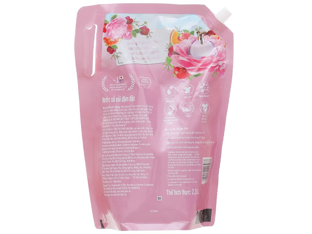 Nước xả vải Downy đóa hoa ngọt ngào túi 2.3 lít 2