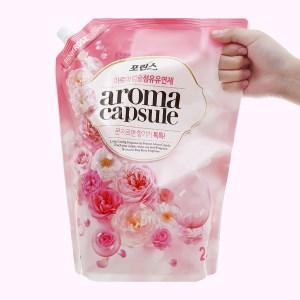 Nước xả mềm vải Aroma Capsule hương hoa hồng túi 2.1 lít