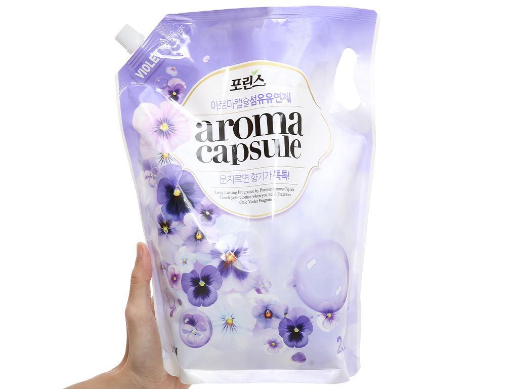 Nước xả mềm vải Aroma Capsule hương hoa violet túi 2.1 lít 4