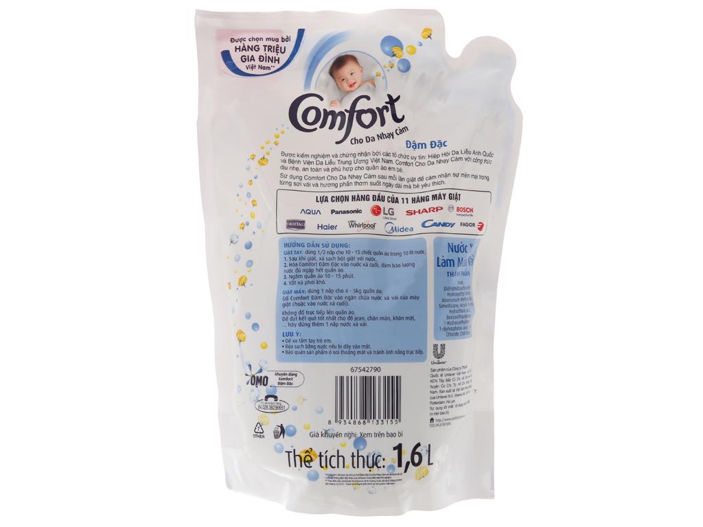 Nước xả vải Comfort cho da nhạy cảm hương phấn túi 1.6L 2